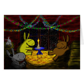 Natal do asno no sótão do celeiro cartão comemorativo
