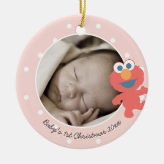 Natal do bebê de Elmo | o primeiro - adicione seu Ornamento De Cerâmica