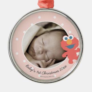 Natal do bebê de Elmo | o primeiro - adicione seu Ornamento Redondo Cor Prata