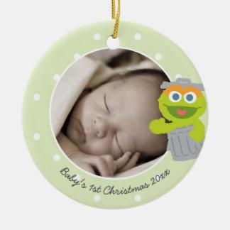 Natal do bebê de Oscar | o primeiro - adicione seu Ornamento De Cerâmica Redondo