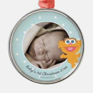 Natal do bebê de Zoe | o primeiro - adicione seu Ornamento Redondo Cor Prata