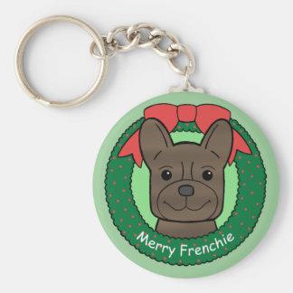 Natal do buldogue francês chaveiro