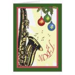 Natal do jazz de Nova Orleães do saxofone Cartao