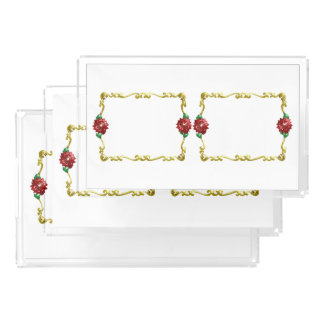 Natal dourado #1 bandeja de acrílico