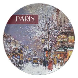 Natal em Paris. Placa do presente do Natal Pratos