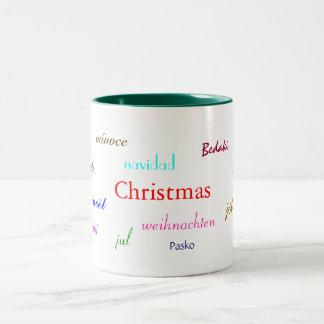 Natal em todo o mundo em I branco e verde Caneca De Café Em Dois Tons