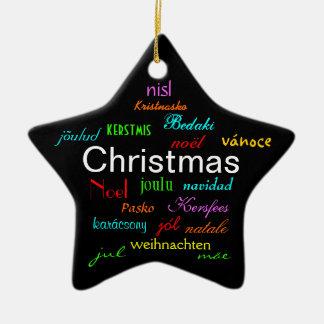 Natal em todo o mundo no preto II Ornamento De Cerâmica Estrela