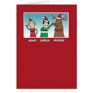 Natal engraçado: Alces de Mary Chris Cartão Comemorativo
