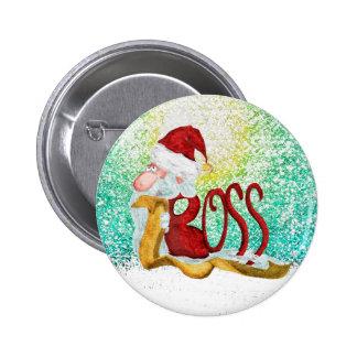 Natal engraçado do chefe do papai noel bóton redondo 5.08cm