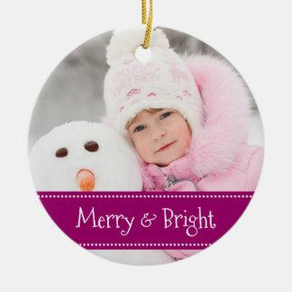 Natal feito sob encomenda alegre roxo da foto da ornamento de cerâmica
