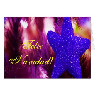 Natal Feliz Navidad STAR II azul Cartão