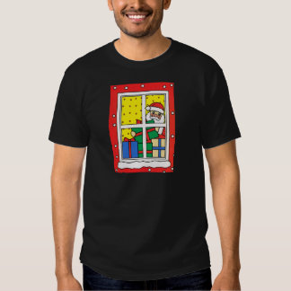 Natal feliz, papai noel, neve, presentes, t-shirts