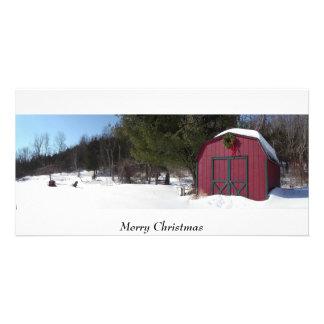 Natal, feriado, estação, cumprimentos cartão com foto