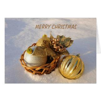 Natal festivo do ouro cartão comemorativo