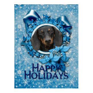 Natal - floco de neve azul - Dachshund - Winston Cartão Postal