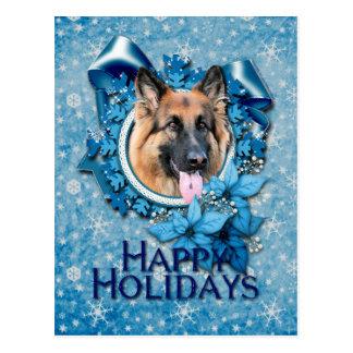 Natal - floco de neve azul - possibilidade do cartão postal