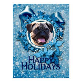 Natal - floco de neve azul - Pug Cartão Postal