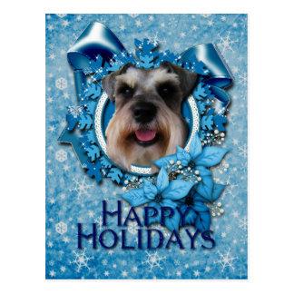 Natal - floco de neve azul - Schnauzer Cartão Postal