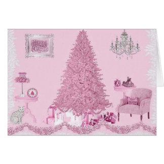 Natal gasto cor-de-rosa da sala cartão de nota