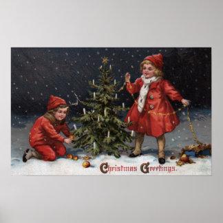 Natal GreetingsKids que decora uma árvore Poster