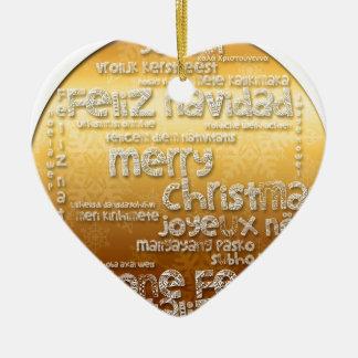 Natal internacional - Navidad - natal - Noel Ornamento De Cerâmica Coração