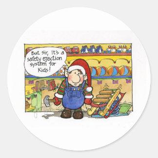 """Natal """"mas no. 6 do senhor"""" desenhos animados adesivo em formato redondo"""