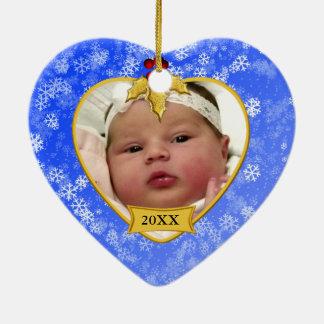 Natal nevado azul do ouro da lembrança da foto do ornamento de cerâmica coração