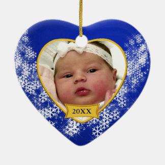 Natal nevado da foto de bebê azul ornamento de cerâmica coração