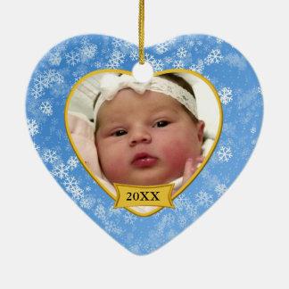Natal nevado da lembrança da foto de bebê azul ornamento de cerâmica coração