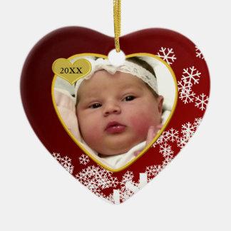 Natal novo vermelho nevado da data da foto e de ornamento de cerâmica coração