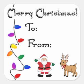 Natal para/desde etiquetas adesivo quadrado