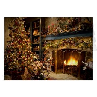 Natal pela lareira cartão comemorativo