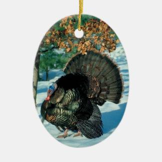 Natal selvagem das decorações do feriado da foto ornamento de cerâmica oval