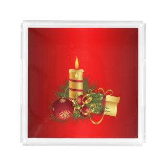 Natal vermelho bandeja de acrílico