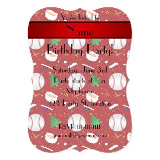 Natal vermelho conhecido personalizado do basebol convites