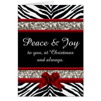 Natal vermelho da faísca do arco da zebra bonito cartão comemorativo