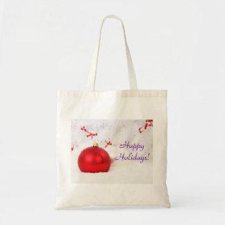 Natal vermelho e branco boas festas III Bolsa Para Compra