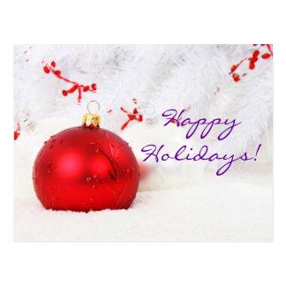 Natal vermelho e branco boas festas mim cartão postal