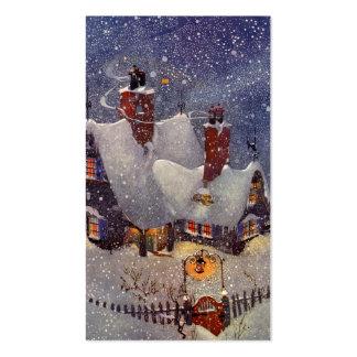 Natal vintage, a oficina do papai noel no Pólo Nor Cartões De Visitas