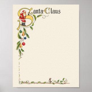Natal vintage, beira decorativa de Papai Noel Posters
