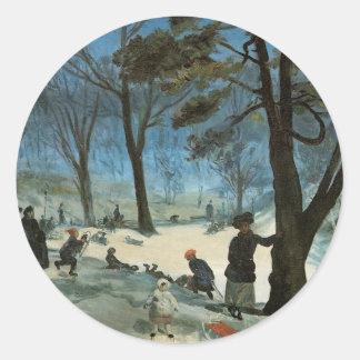 Natal vintage, Central Park no inverno Glackens Adesivo