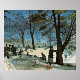 Natal vintage, Central Park no inverno Glackens Pôster