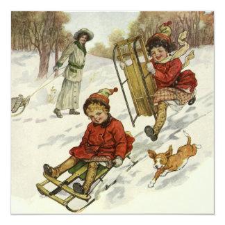 Natal vintage, convite das crianças do Victorian