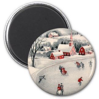 Natal vintage, lagoa congelada patinadores do ima
