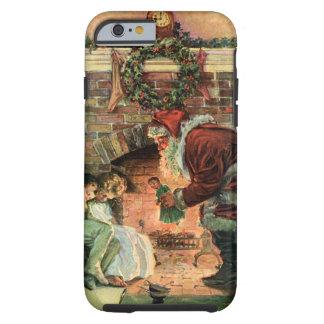 Natal vintage, lareira de Papai Noel do Victorian Capa Para iPhone 6 Tough