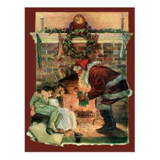 Natal vintage, lareira de Papai Noel do Victorian Cartão Postal