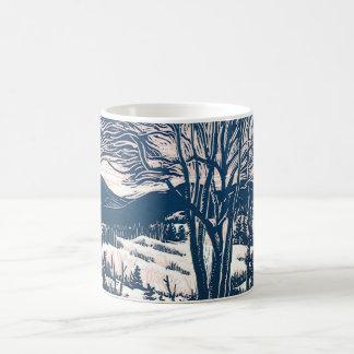Natal vintage, paisagem da montanha do inverno caneca