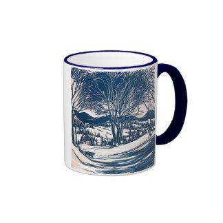 Natal vintage, paisagem da montanha do inverno caneca com contorno