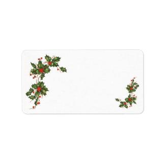 Natal vintage, planta do azevinho com bagas etiqueta de endereço