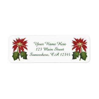 Natal vintage, planta vermelha do inverno da etiqueta endereço de retorno